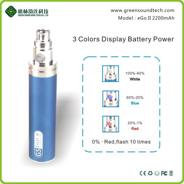 2016 New Trend Vaporizer Pen Battery Greensound Ego Ii 2200mah