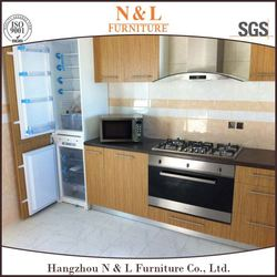European Standard Beautiful Kitchen Wood Grain Kitchen Cabinets, Fabricated Home