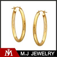 2015 hot sale stainless steel 14k yellow gold oblong hoop earring