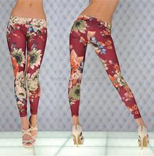 Mayor del verano nueva moda para mujer vino tinto impreso flores coloridas del sexo las medias de la muchacha