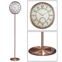 """antique standing analog 12"""" home decor clock with weather station"""