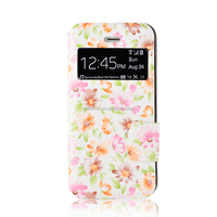 Wholesale flower painting high quality PU leather folio stand case cover with card slot for iPhone 5/ 5s