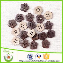 Todos los tipos de coco natural láser artesanales novedad botones de flores