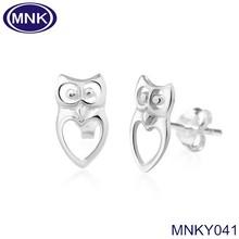 316L Silver Cut Open Love Owl Bird Post Studs Animal Shape Earrings