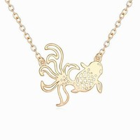 New Product Wholesale Vintage Jewelry Austrian Real Gold Filled Animal Small Fish Jewelry Fine Fancy Necklace