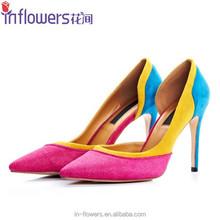 OEM beautiful mixed color ladies high heels