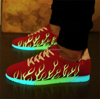Manufacture factory Cheap LED Luminous Shoes Men Women Fashion Light up Glowing shoes for adults Flat With Lace-Up Red Black