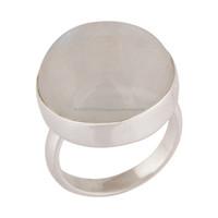 Hallmark Designer Fine Solid Ring, Moonstone White Sterling Silver Ring Jewelry