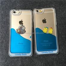 2015 Cute Swimming Rubber Duck 3D Liquid Water TPU Soft Case for iPhone 6/6+