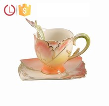 Enamel Grace Porcelain cup saucer spoon set for coffee tea design golden flower