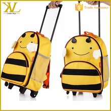 2015 Kindergarten Cute Animal design Boy Kids School Bag With Wheels For Girls