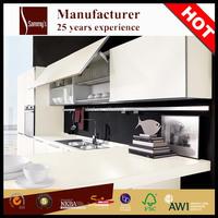 Aluminum edge white skins design hote kitchen cabinet