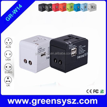 GE-W14 Popular 2 usb ports world travel adapter electric with multi plugs all in one