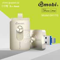 New novelty product Gmobi iStick Pro metal USB flash drive with memory card & Lighting USB key For iPhones, iPads & Computers