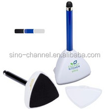 Hot Conference Gift Multi-Function Self-Stand Stylus Pen with Screen Cleaner
