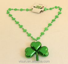 yiwu factory plating plastic lined BEADS chain Irish SAINT patrick's clover necklace