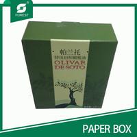 POPULAR COLOR GREEN CUSTOM 2 BOTTLE PAPER OLIVE OIL PACKING BOX