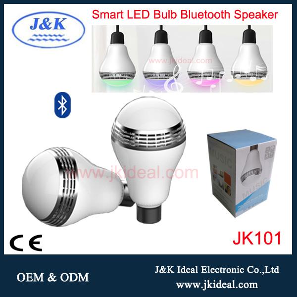 Jk101 alta calidad inteligente altavoz bluetooth bombilla 4 w e27 CE