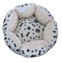 Flower design soft plush pet round bed dog beds