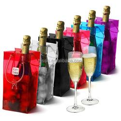 Promotional Plastic ice bag / plastic cooler bag for wine