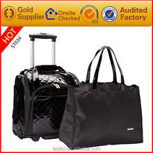 Small size PU travel luggage with wheels and tote travel bags for men