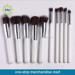 white wooden handle 10pcs cosmetic brush set with OEM design