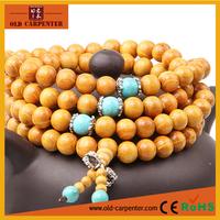 2015 Meditation high quality fashion 108 wood mala beads stretch bracelets,Gold sandalwood bracelet