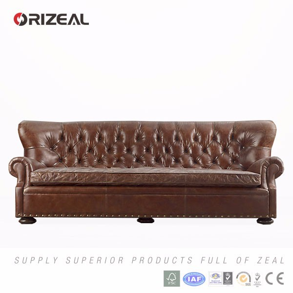 orizeal hot sale classic leather churchill sofa for the