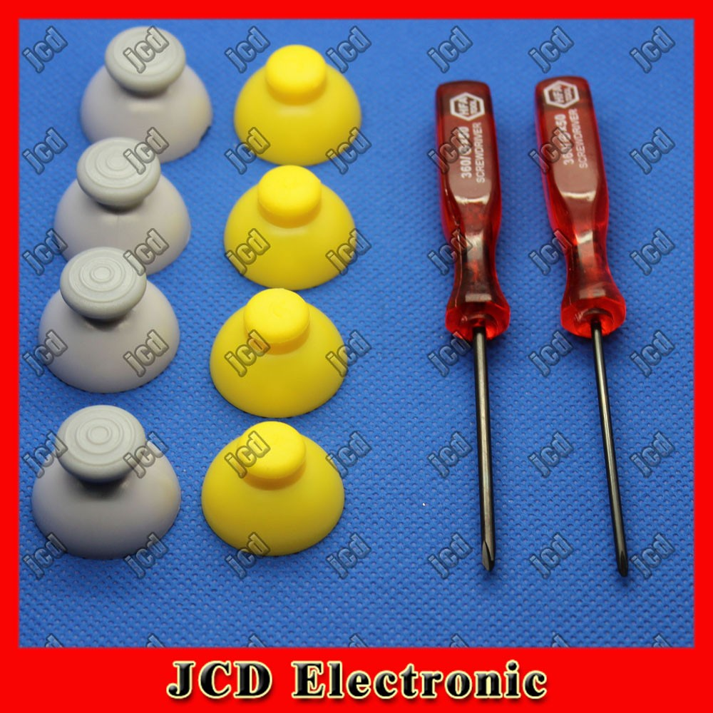 for GameCube Controller Thumbstick/Joystick Repair Caps-Yellow/Gray Anolog replacement part  with cross and tri wing Screwdriver