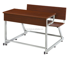 Adjustable double school desk and chair panel for student studying