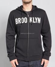 Custom fashion Full zip applique logo black hoodie design