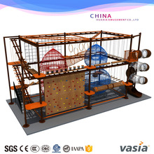 Kids indoor high adventure play equipment indoor obstcle rope coures with climbing wall