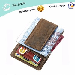 Men Crazy Horse Genuine Leather Magnetic Money Clip Wallet ID Card Holder