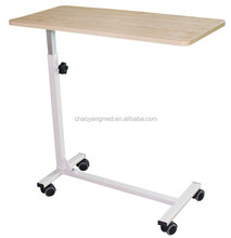Cheapest price wooden adjustable folding hospital bed dining table/hospital bed tray table/hospital over bed table CY-H838