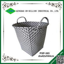 Cheap woven grey plastic mini laundry basket
