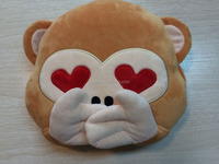 Plush cute emoji monkey back cushions