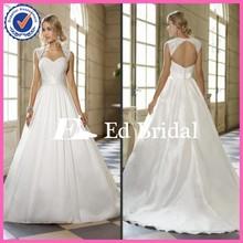 Heavy Beaded Bodice White Taffeta Ball Gown Wedding Dresses With Detachable Cap Sleeve