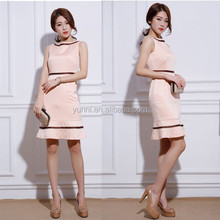 Office lady Deco Bands Flared Hem Dress/Sleeveless pencil mid dress