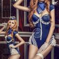 Spandex traje de carnaval, uniforme sexy aeromoça, traje fácil cosplay