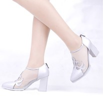 genuine leather pig leather inside women pumps high chuky heel pumps fashion office ladies shoes