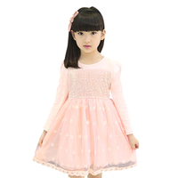 Latest Adorable Girl Mesh Dress Full Sleeve Lace Flower Dresses Pretty Child Daily Wear GD81104-8