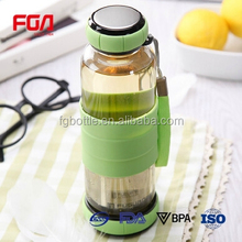 stainless steel filter basket glass drinking bottles with soft sleeve