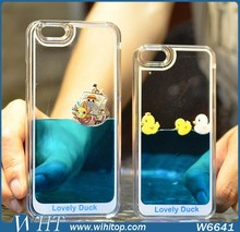 Liquid Glitter Star Phone Case, 3D Yellow Rubber Duck Liquid Case for iPhone 6