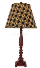 wholesale mass production traditional deep red color resin desk lamp with a star spangled patterned lamp shade
