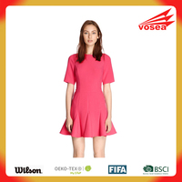Pink Fluted Hem Dress pictures office dress for ladies