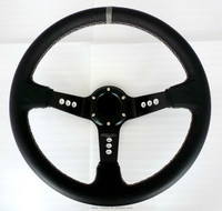 famous brand 90mm deep dish racing leather 9 holes steering wheel