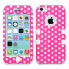 hybrid polka dot silicone phone case/ hard cover skin case for iphone 5c/mobile phone accessories cheap cases