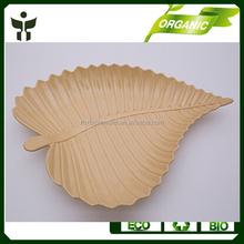 wholesale eco plates leaf shape bamboo fiber plate