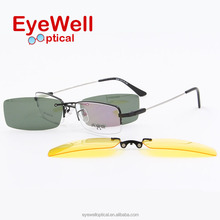 High quality Vogue Polarized Clip On Sunglasses Night Vision with memory temple optical frame for men and women