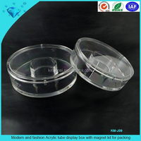 Modern and fashion Acrylic tube display box with magnet lid for packing